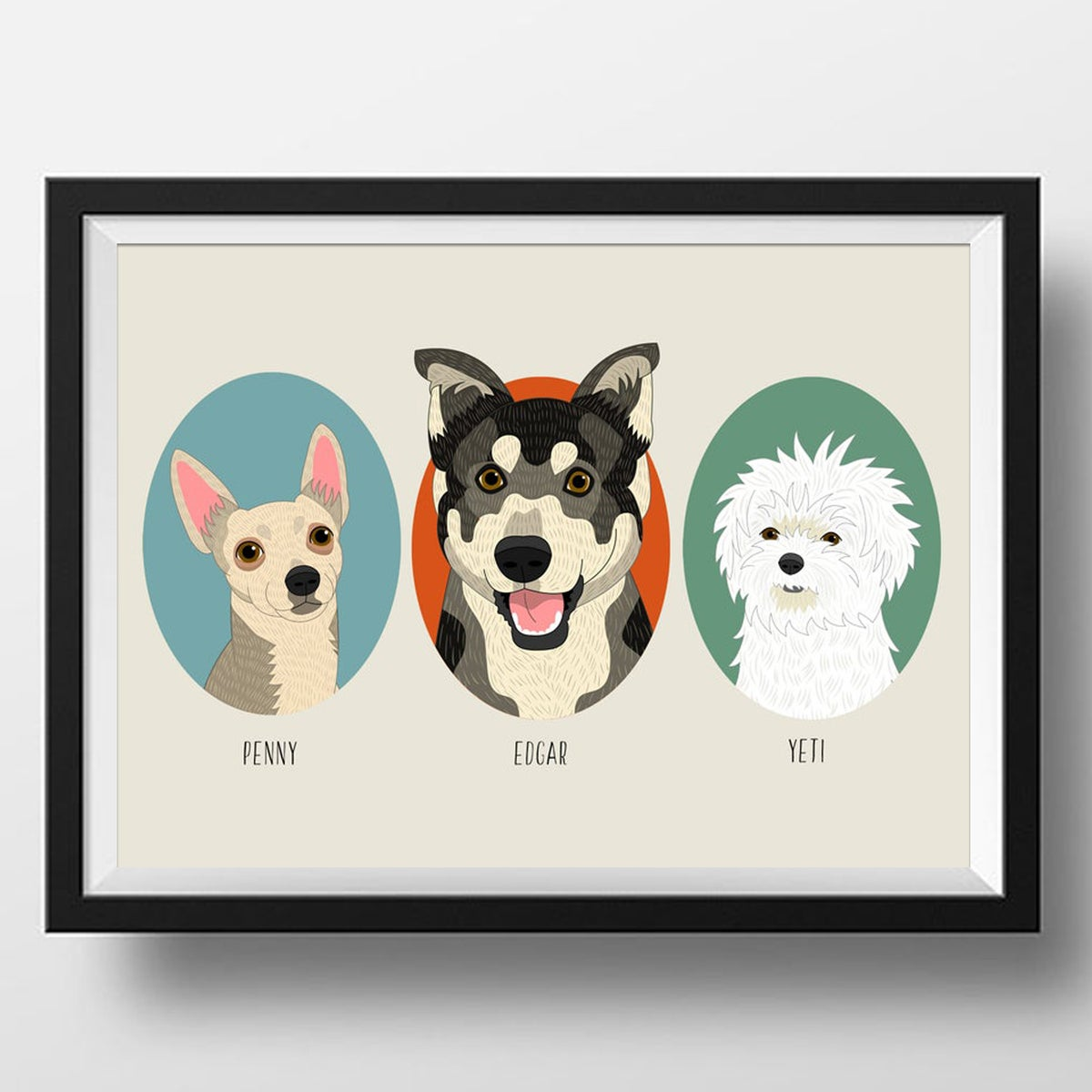 Image of 3 Pet portraits. Dogs or Cats.