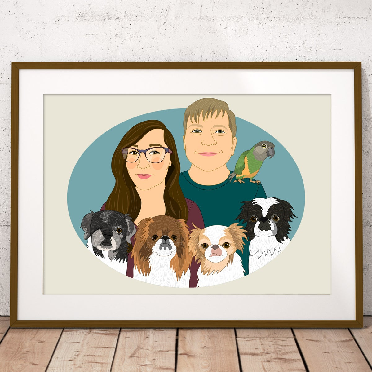 Image of Couple's portrait with 3 or more pets. Portraits from photo.
