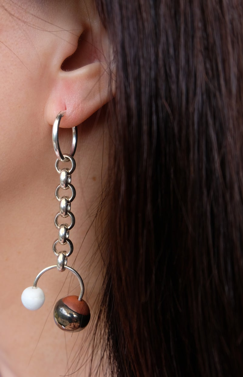 Image of chunkie silver earring pair