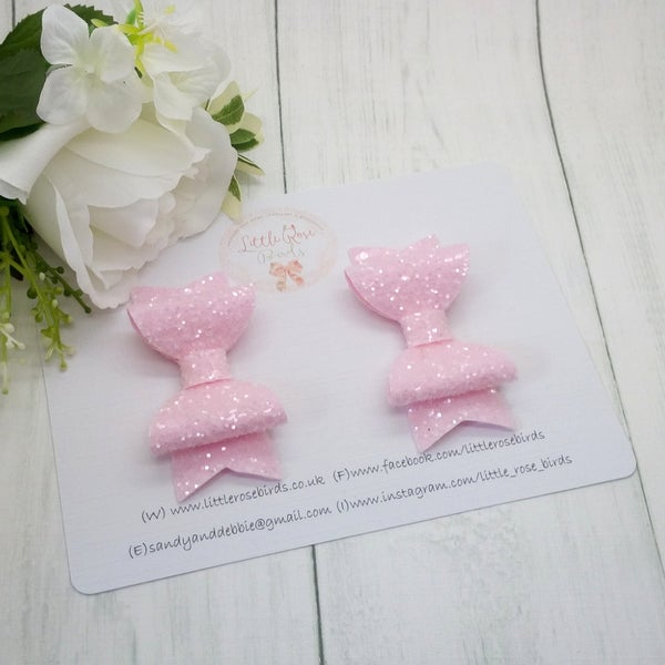Image of Pink Glitter Pigtail Bows
