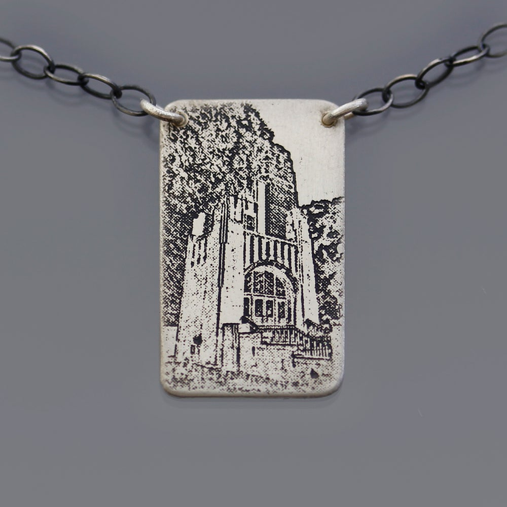 Image of Sterling Silver Purdue Memorial Union Necklace, No. 1