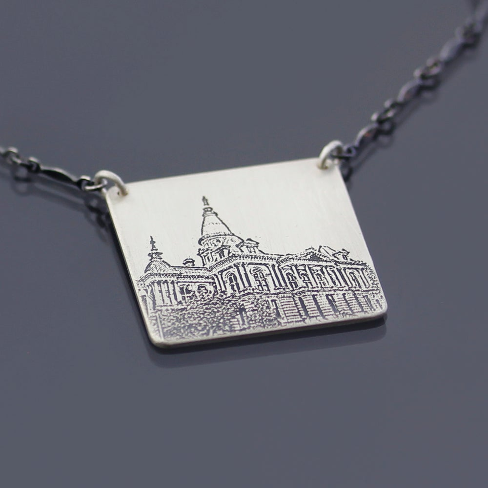 Image of Sterling Silver Tippecanoe County Courthouse Necklace No. 1