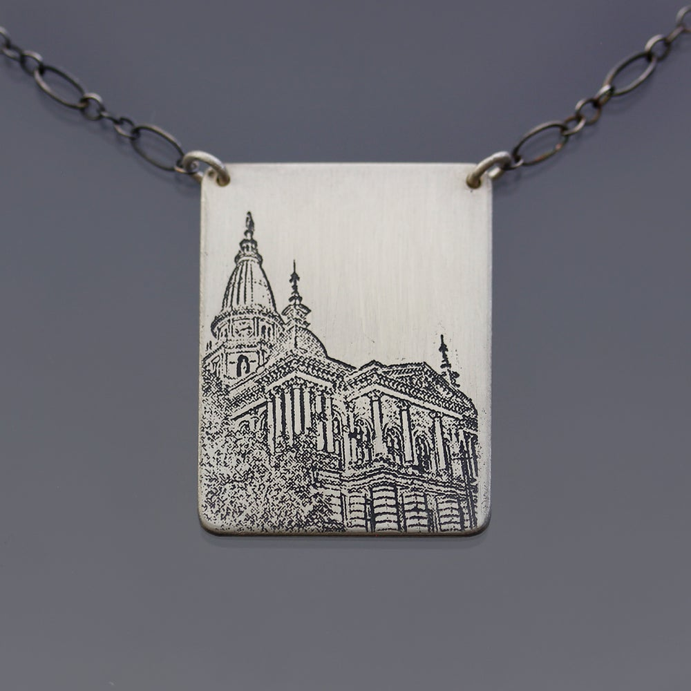 Image of Sterling Silver Tippecanoe County Courthouse Necklace, No. 2