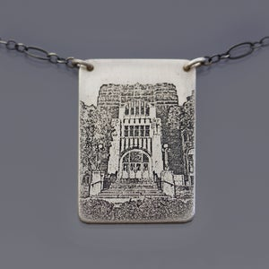 Image of Sterling Silver Purdue Memorial Union Necklace, No. 2