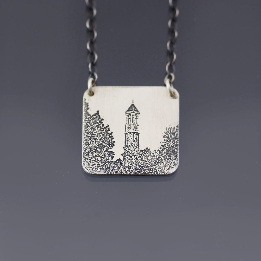 Image of Sterling Silver Purdue Bell Tower Necklace