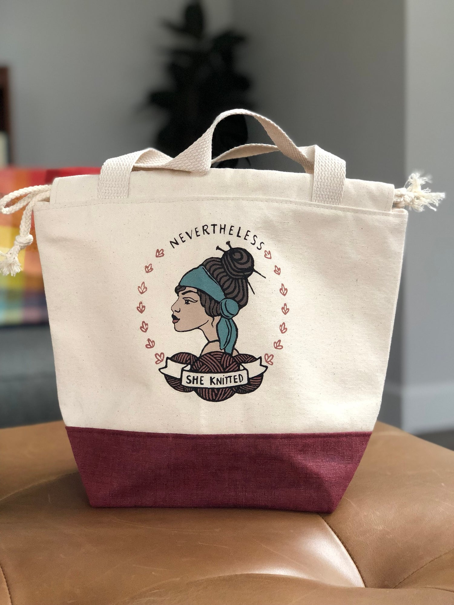 Image of PRE ORDER Nevertheless She Knitted Project Bag Natural/Brick