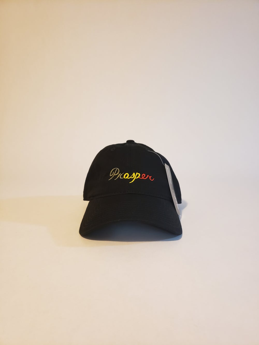 "Image of ""Prosper"" Strap back hat - black/rasta"