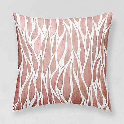 Image of Pink Eucalyptus Leaves Belgian Cotton Linen Cushion