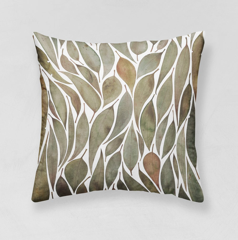 Image of Gathered Gumleaves Belgian Cotton Linen Cushion