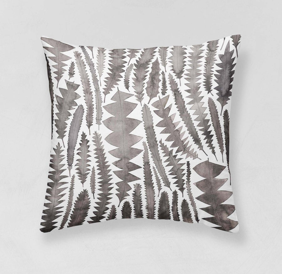 Image of Charcoal Banksia Leaves Belgian Cotton Linen Cushion