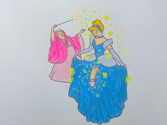 Image of fairy godmother original drawing