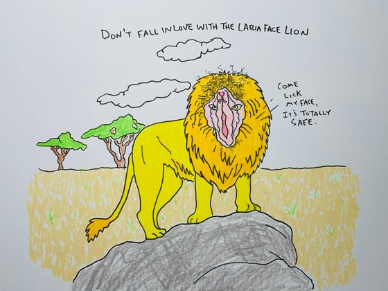 Image of don't fall in love with the labia face lion original drawing