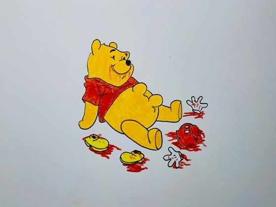 Image of pooh digesting original drawing