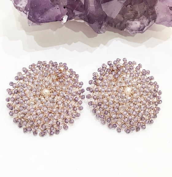 Image of Amethyst Rose Gold Woven Earrings
