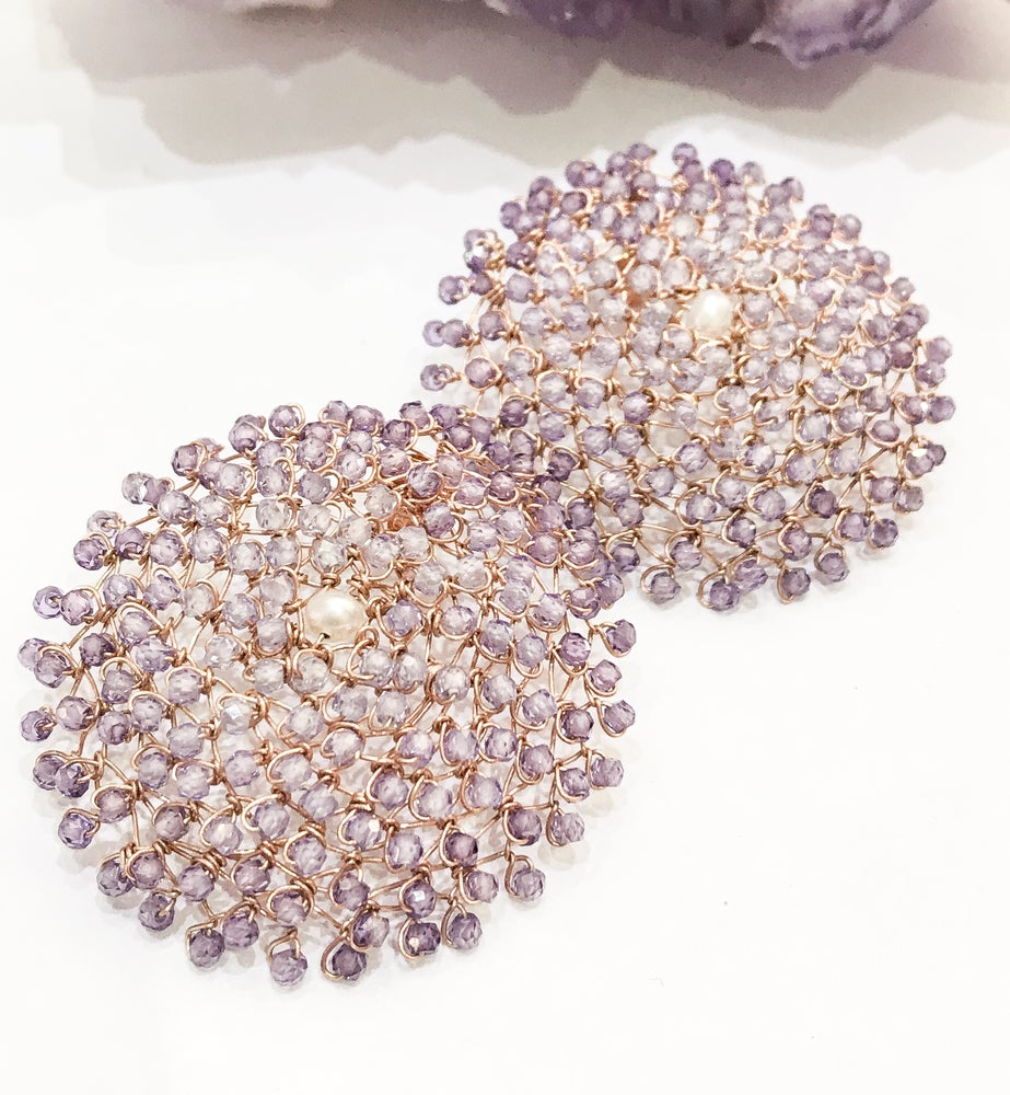 Image of Amethyst Rose Gold Woven Earrings