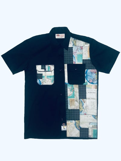 Image of AXECENTS MAP PACK S/S WORK SHIRT - BLACK