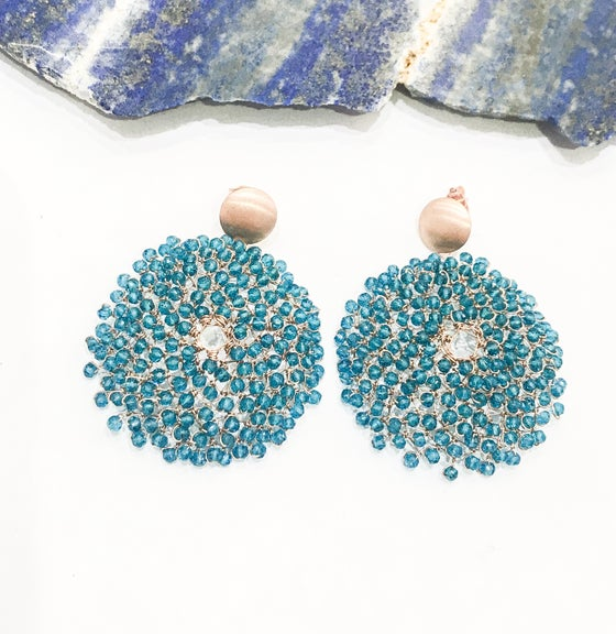 Image of Apatite Rose Gold Woven Earrings