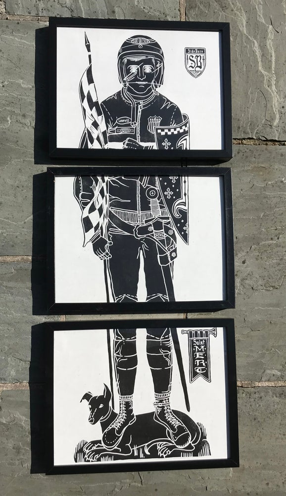 Image of St Mert Giclee Print Triptych
