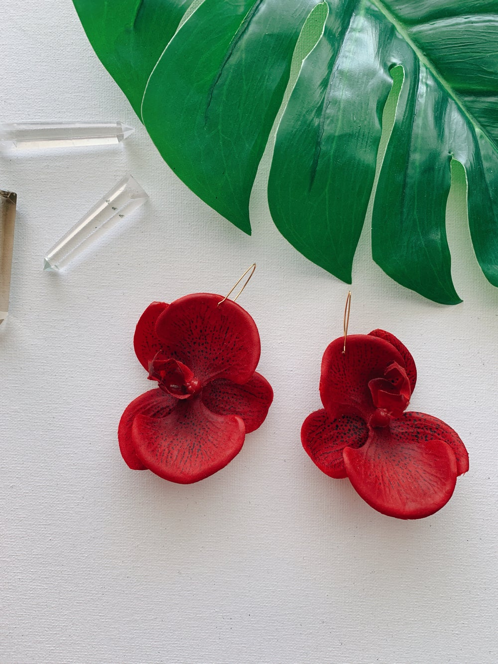 Image of FLOWER GANG :: Red Orchid Earrings