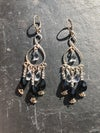 Sterling chandelier earrings with black and clear Swarovski crystals