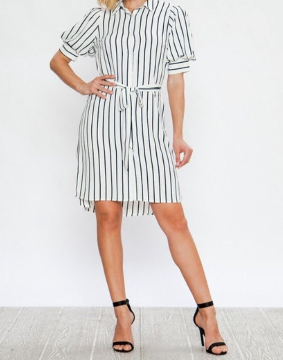 Image of striped button down shirt dress