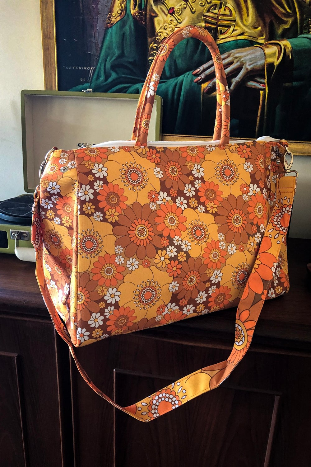 Daytripper Overnight Bag in Pushing Daisies Brown and Orange