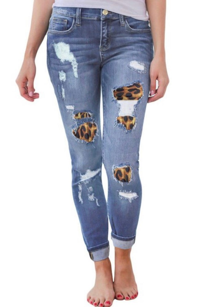 Image of leopard, distressed jeans
