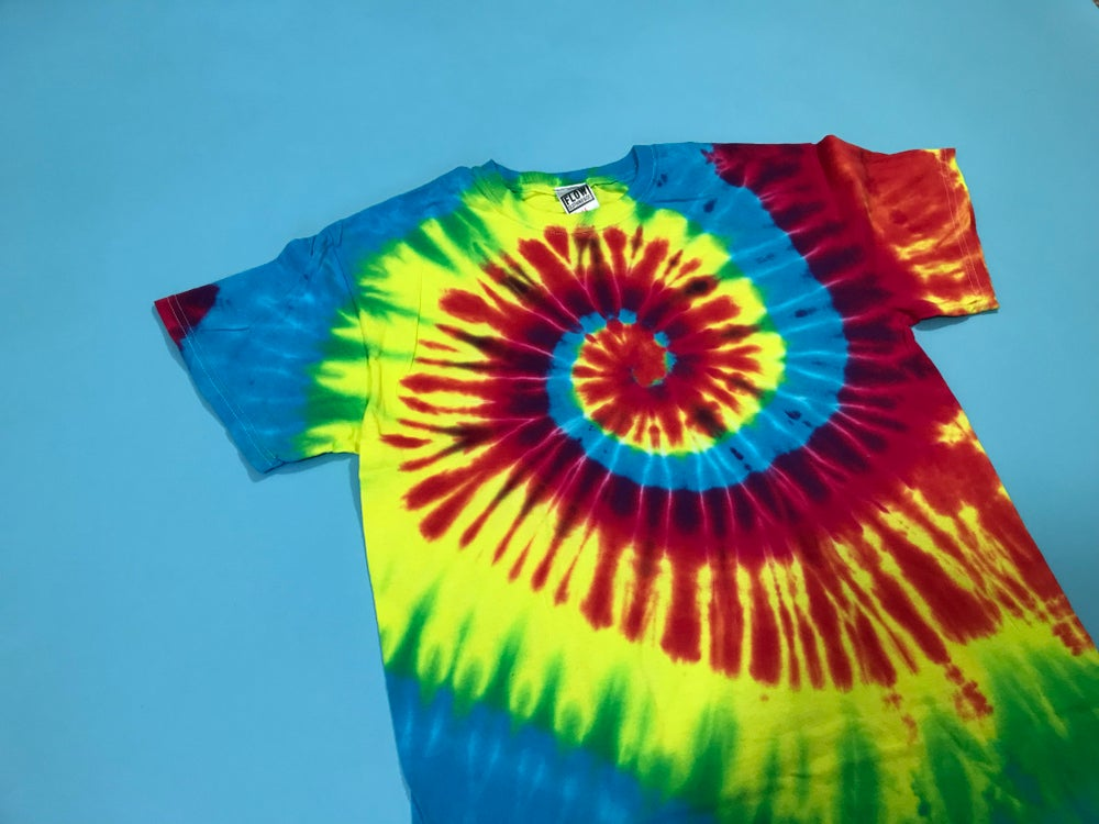 Image of Short Sleeve Tie Dye T-Shirt Retro Hippie