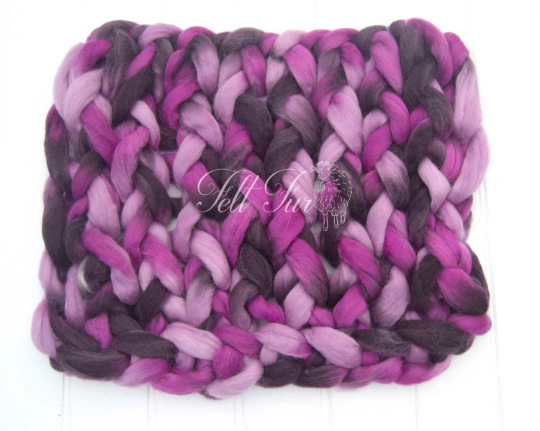 Image of Newborn Photography Posing Prop, Chunky Knitted Mat, Blanket, Basket Filler. Purple Mix Plait/Braid