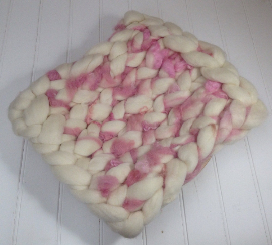 Image of Newborn Prop, Extremely Chunky Mat, basket filler, layering blanket, pink cream curly wool prop