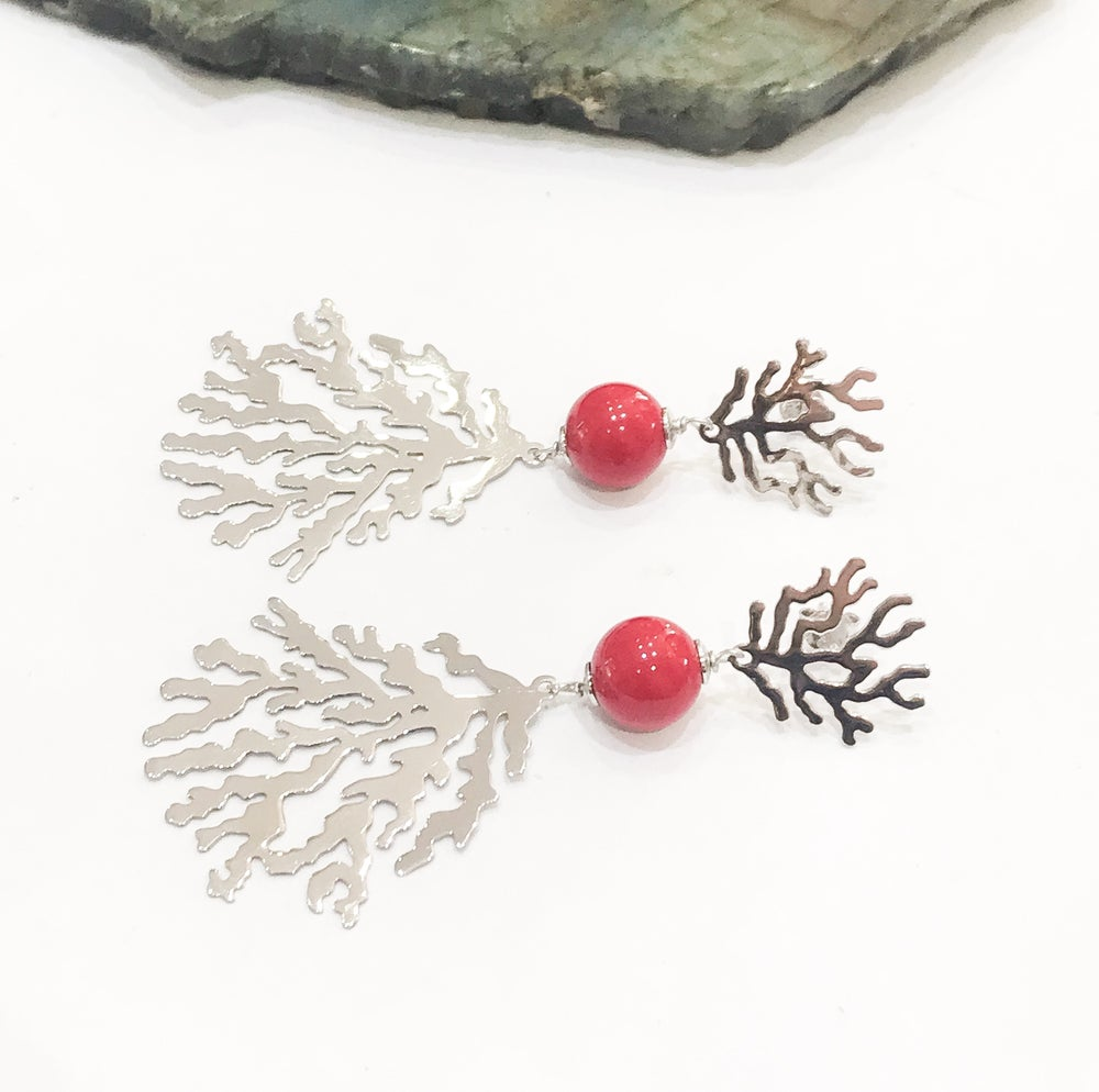 Image of Silver Coral Branch Earrings with Bamboo Coral