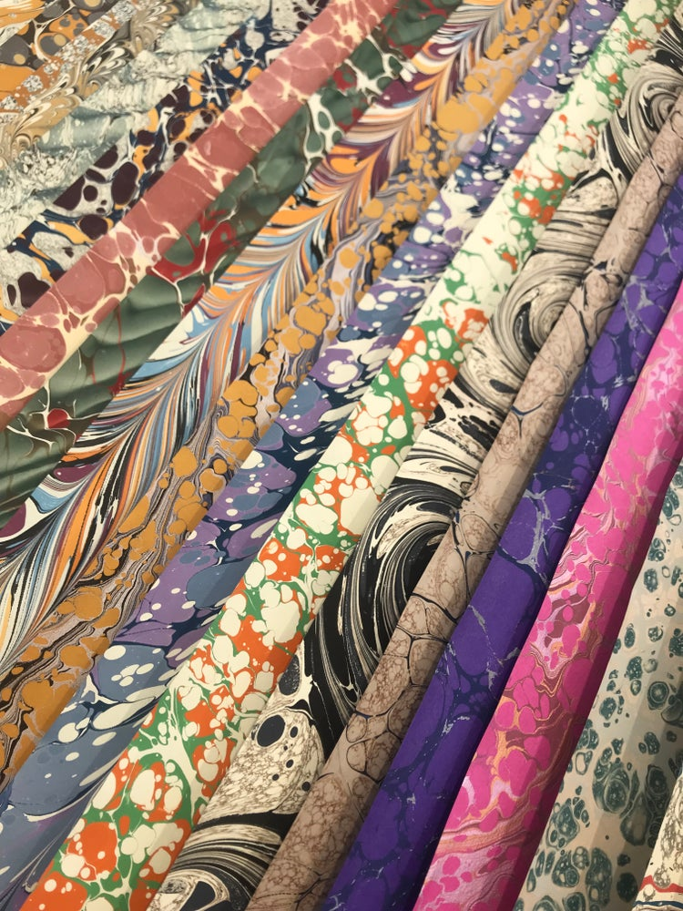 Image of Assorted Collection of 10 First Quality hand marbled papers