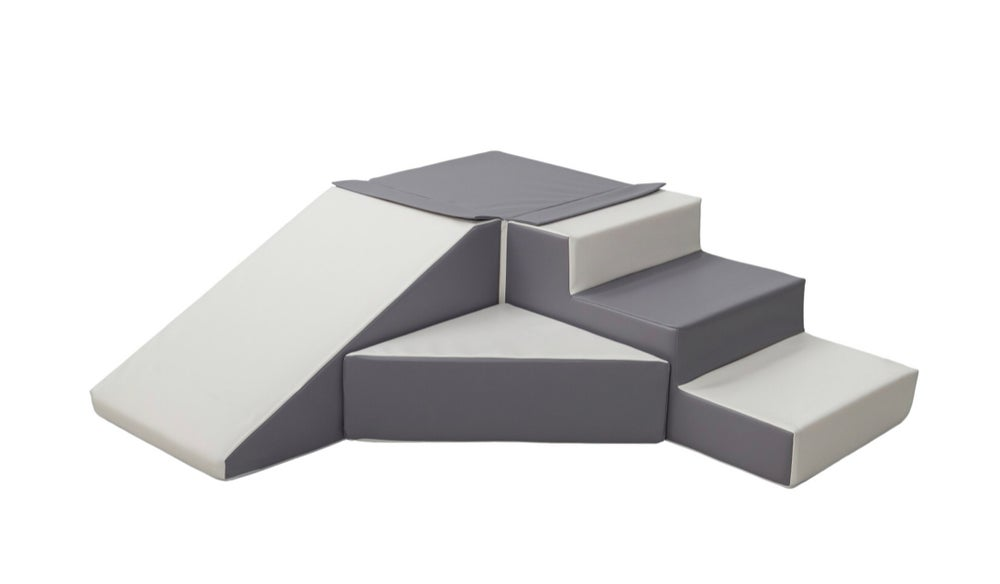 Image of Soft play steps and slide - grey and white