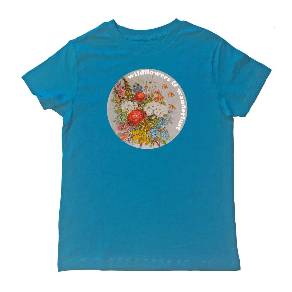 Image of Wildflowers & Wanderlust Flora Organic Tee - Turquoise