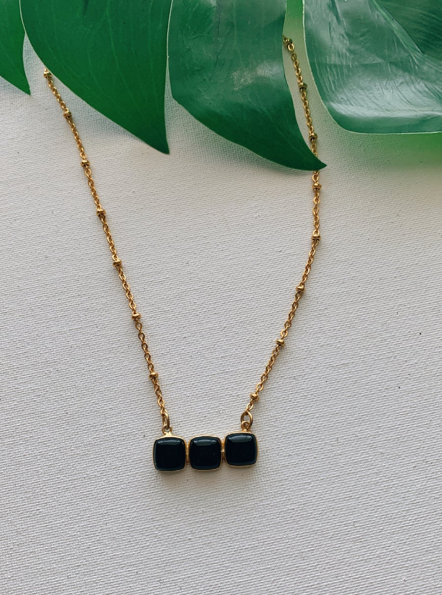 Image of BLACK HONEY • Triple Black Onyx Bar Necklace