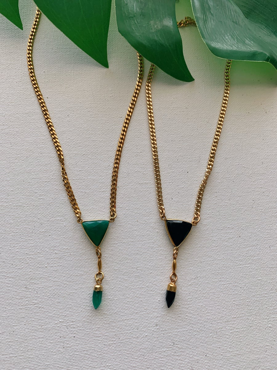 Image of PROSPER • Onyx Triangle Drop Necklace