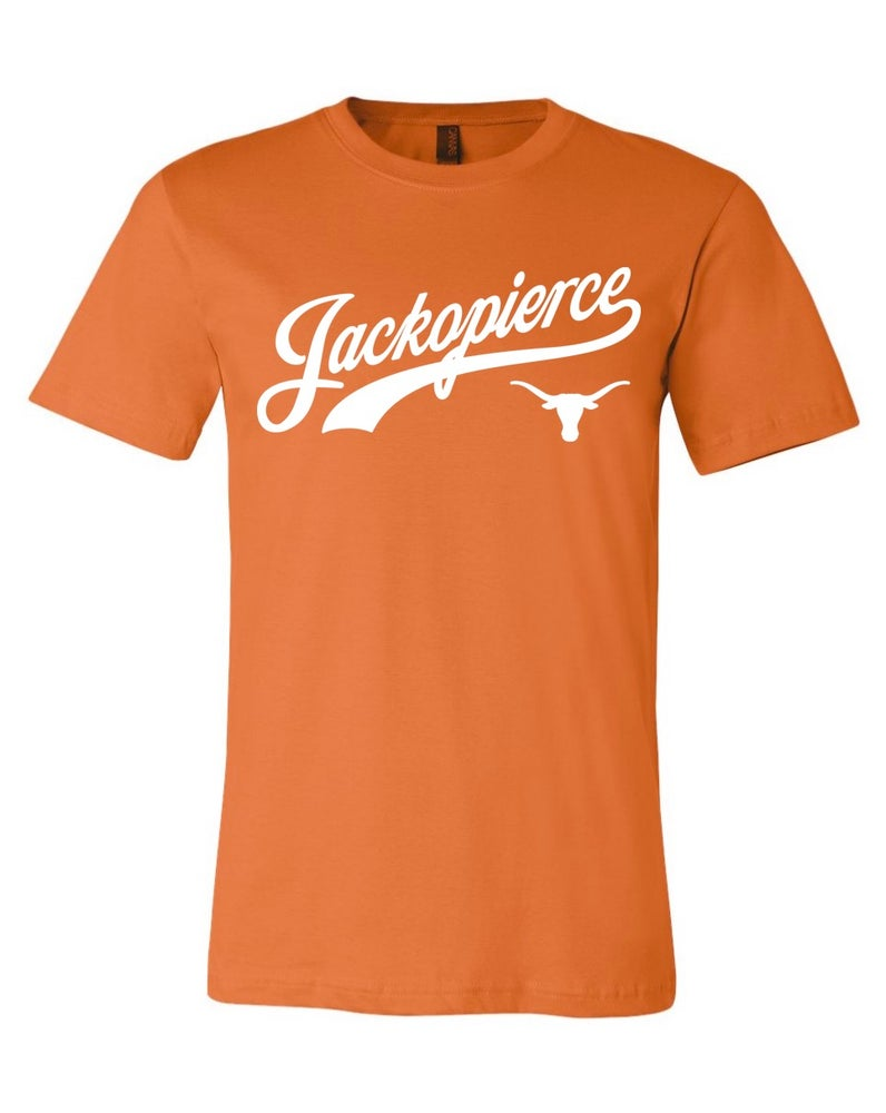 Image of JP Longhorn Shirt - Men's/Unisex Cut - Burnt Orange/White