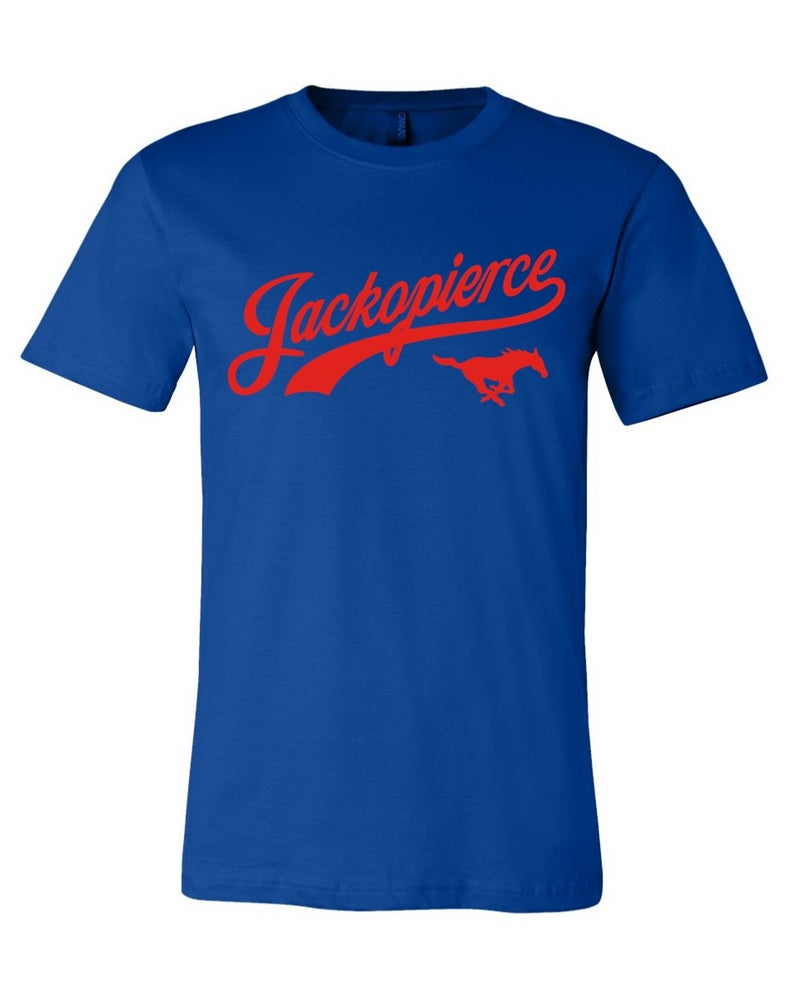 Image of JP Mustang Shirt - Men's/Unisex Cut - Royal Blue/Red