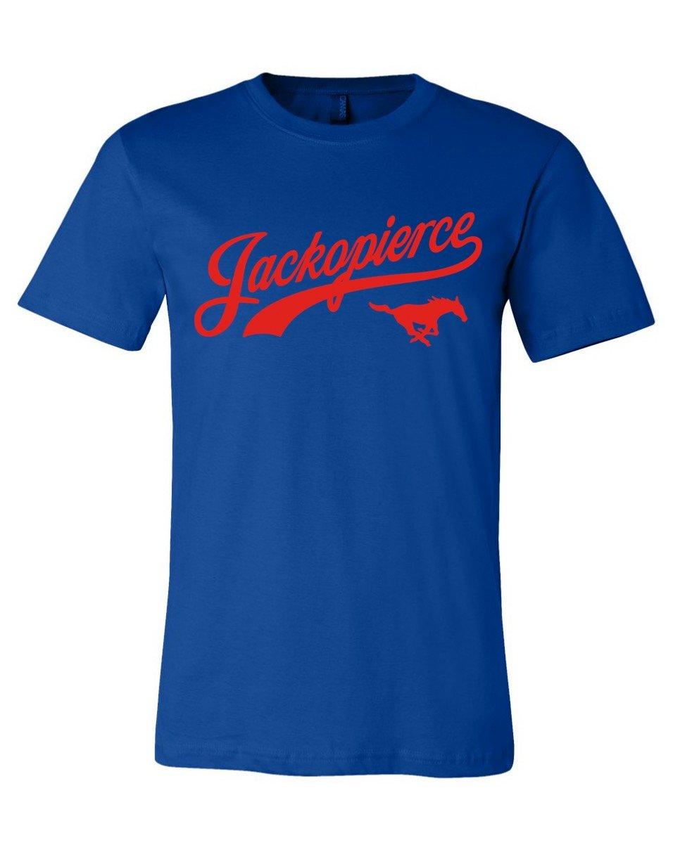 Image of JP Mustang Shirt - Men's/Unisex Cut - Royal Blue/Red