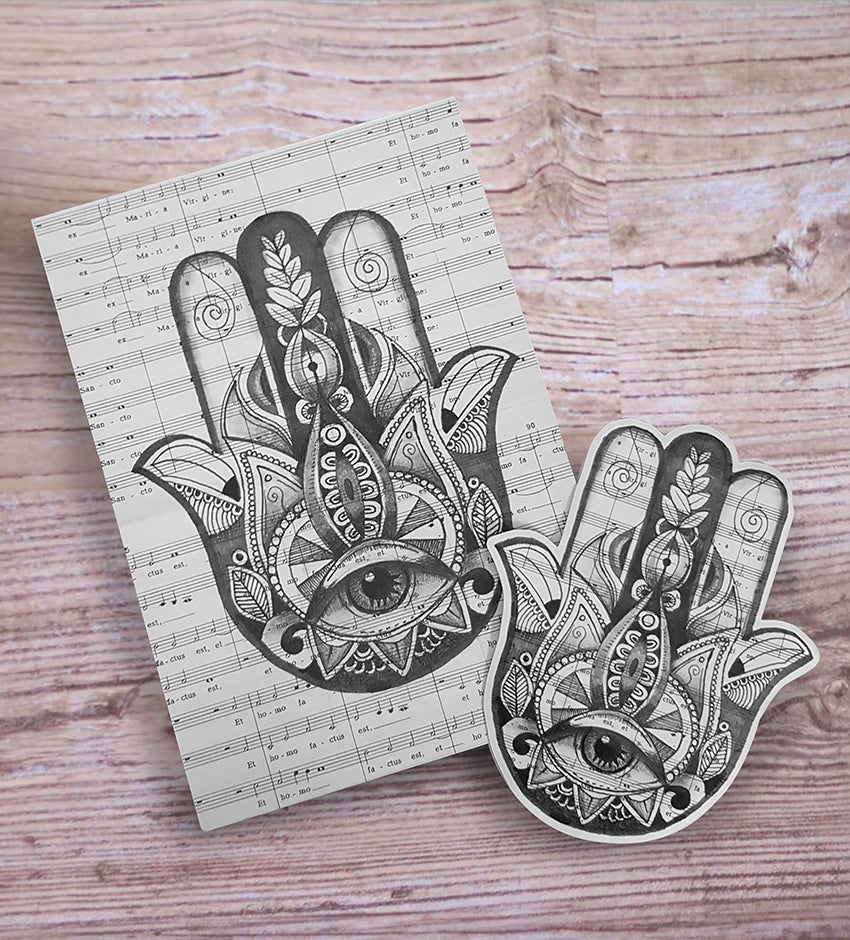 Image of Hamsa Tattoo Limited edition print and sticker