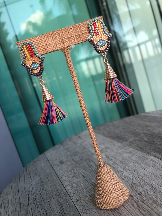 Image of Hamsa Tassel Earrings