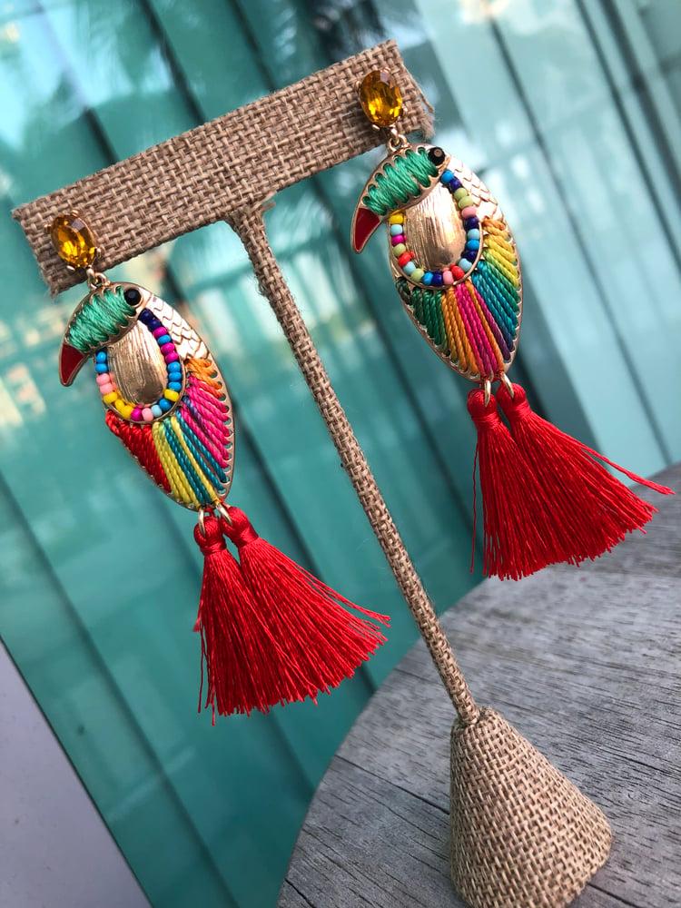 Image of Toucan earrings.