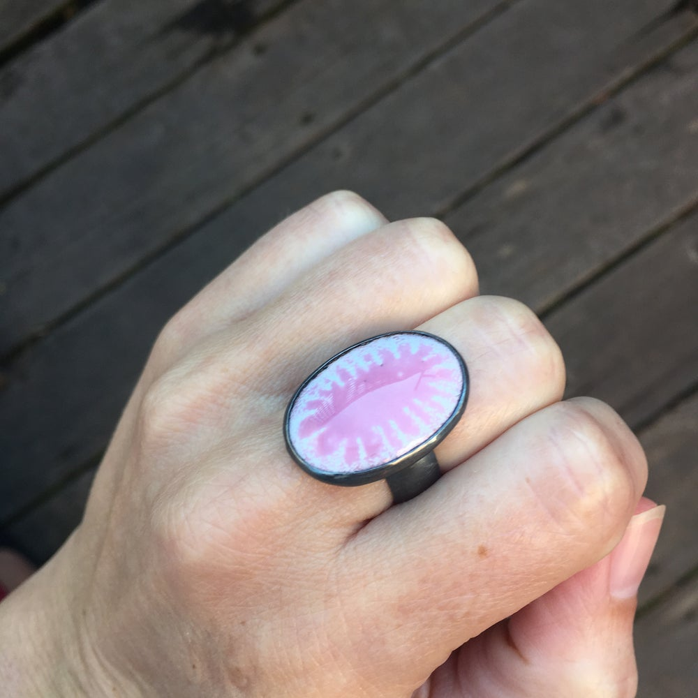 Image of pink tie die enamel and oxidized silver ring