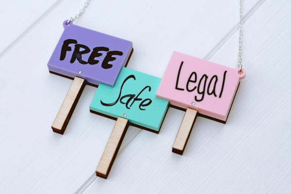 Free Safe Legal Necklace Pastel  - Black Heart Creatives