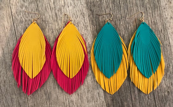 Image of Layered feather earrings