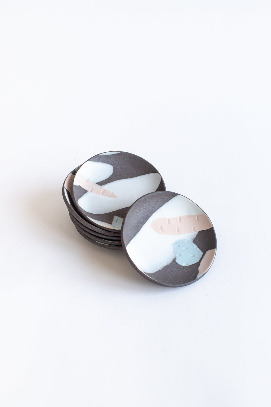 Image of Dark Clay with Pink and Blue Pastel Jewelry Dishes