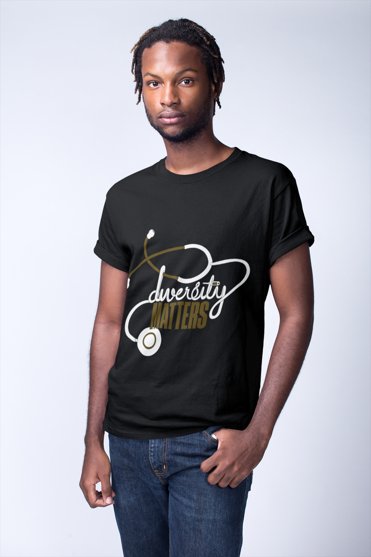 Image of Black Shirt-White/Gold