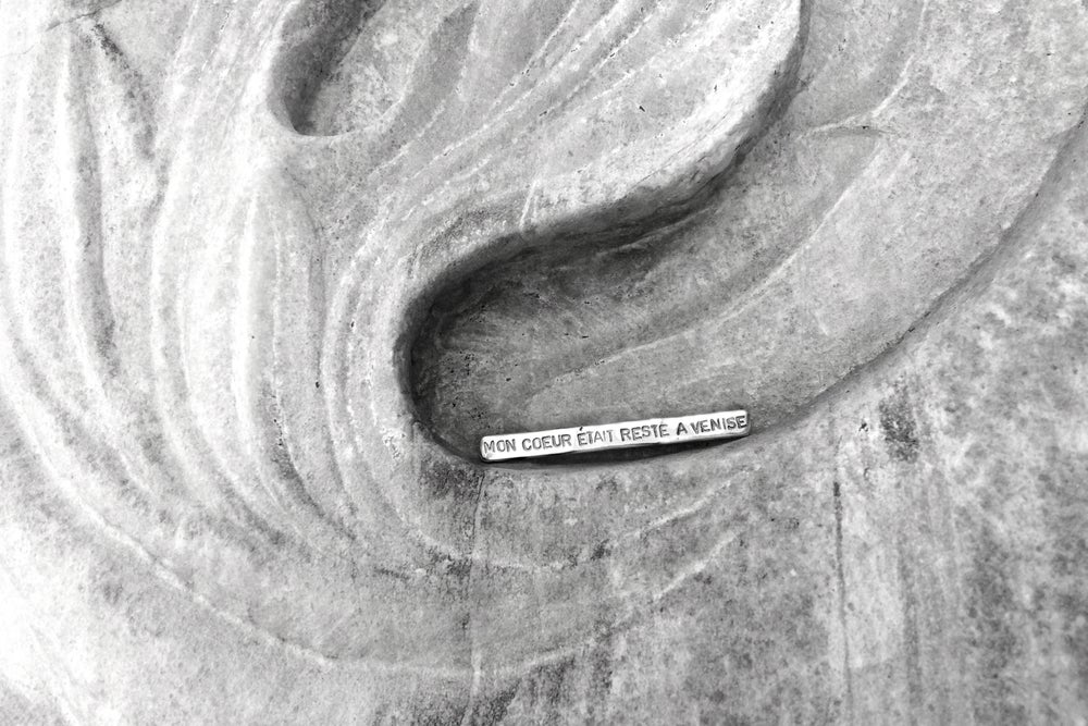 """Image of """"My heart in a fury, I left Venice"""" silver brooch with inscription · MON COEUR ETAIT RESTE.. ·"""