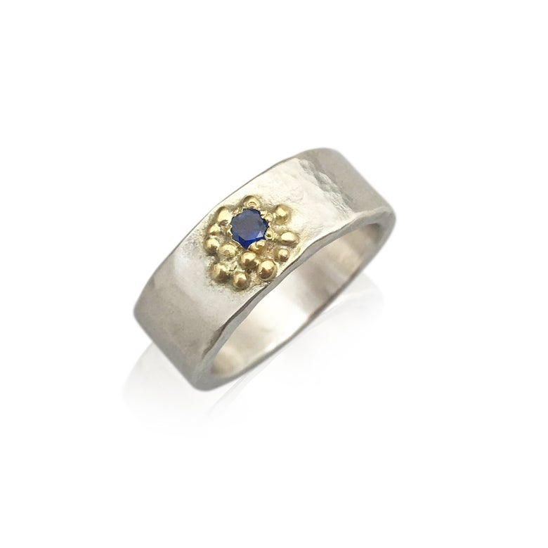 Image of SALE!! sapphire and 18k yellow gold and silver band