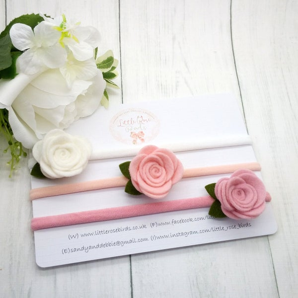 Image of SET OF 3 Rose Headbands or Clips